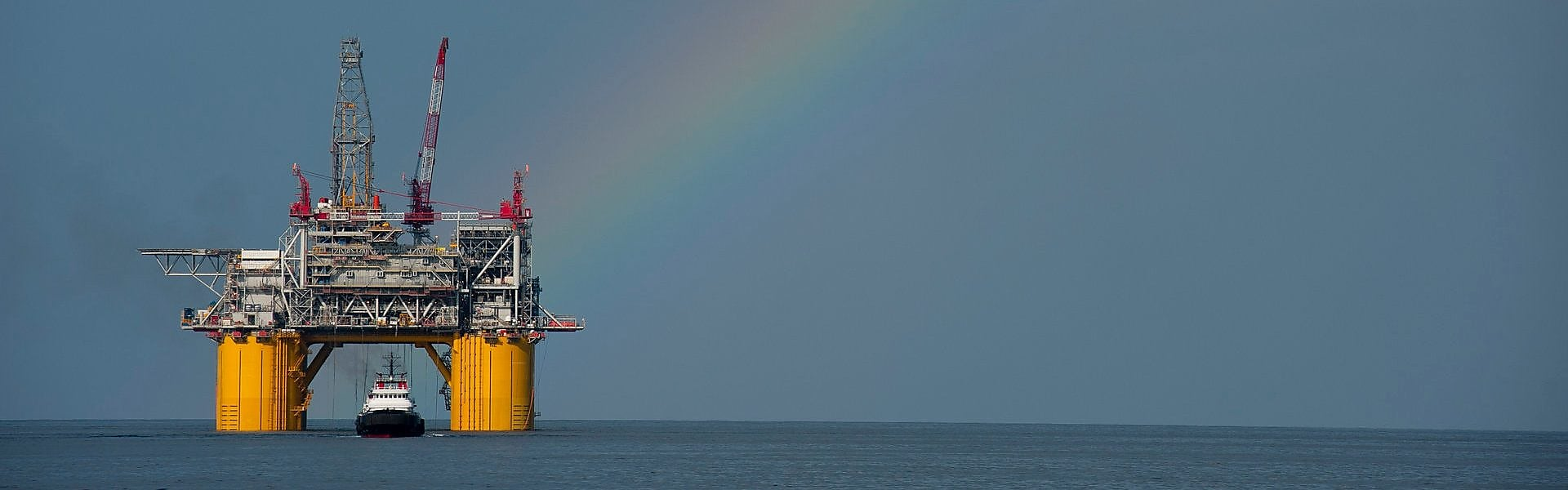 Mars B Platform in the Gulf of Mexico with a rainbow overhead